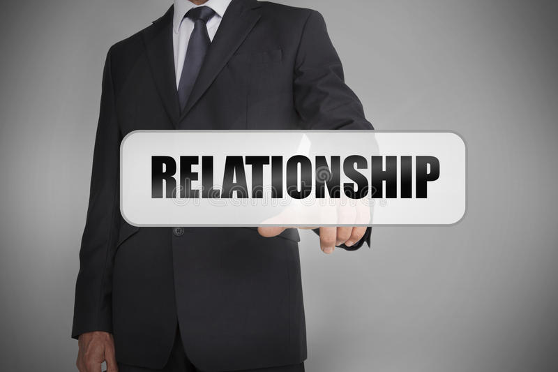 Download Businessman Selecting The Word Relationship Written On White Tag Stock Illustration - Image: 31552288
