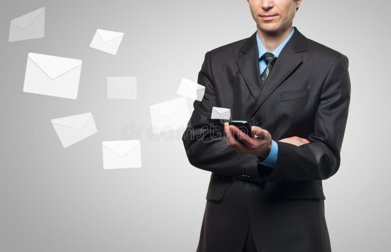 Download Businessman Sends A Virtual Message Stock Image - Image: 24702441