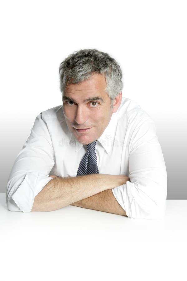 Download Businessman Senior Portrait Relax White Desk Stock Image - Image: 15430603