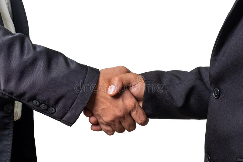 Businessman  Shake Hands Together on iSolated White Background stock images