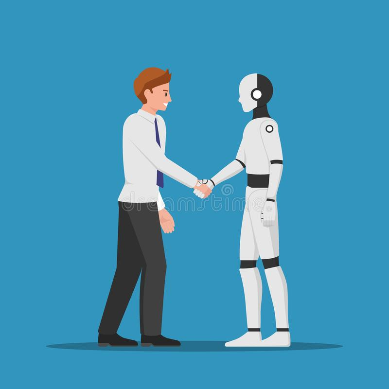 Businessman shaking hand with AI robot royalty free illustration