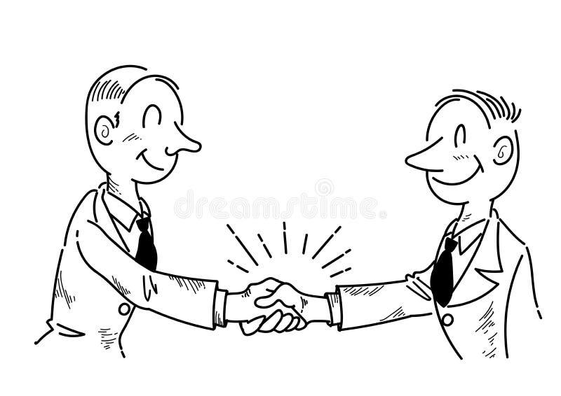 Businessman shaking hands - line drawing stock illustration