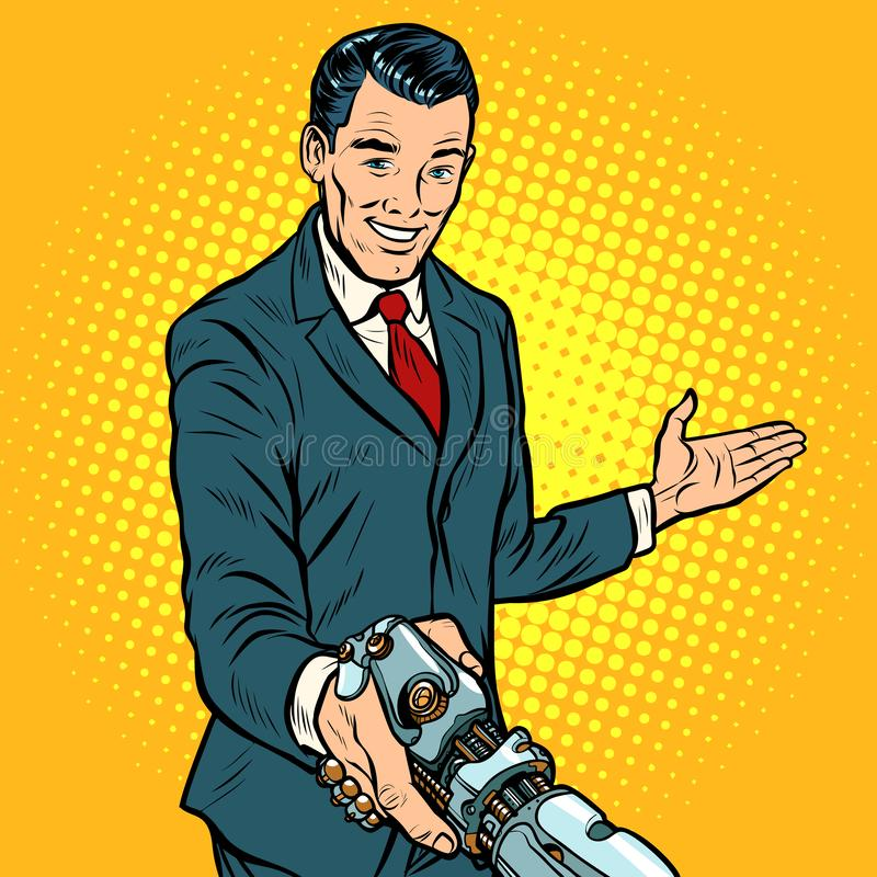 Businessman shaking hands with robot, new technology royalty free illustration