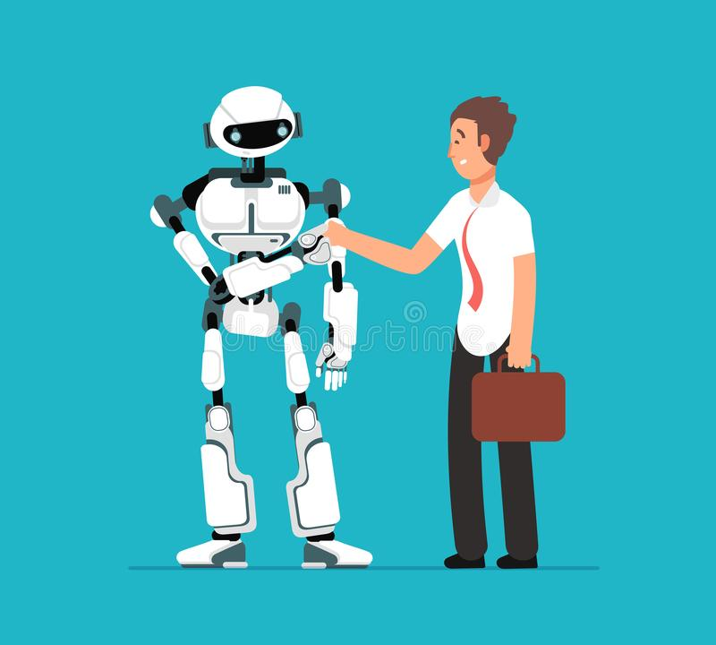 Businessman shaking robots hand. Artificial intelligence, human vs robot vector futuristic background royalty free illustration