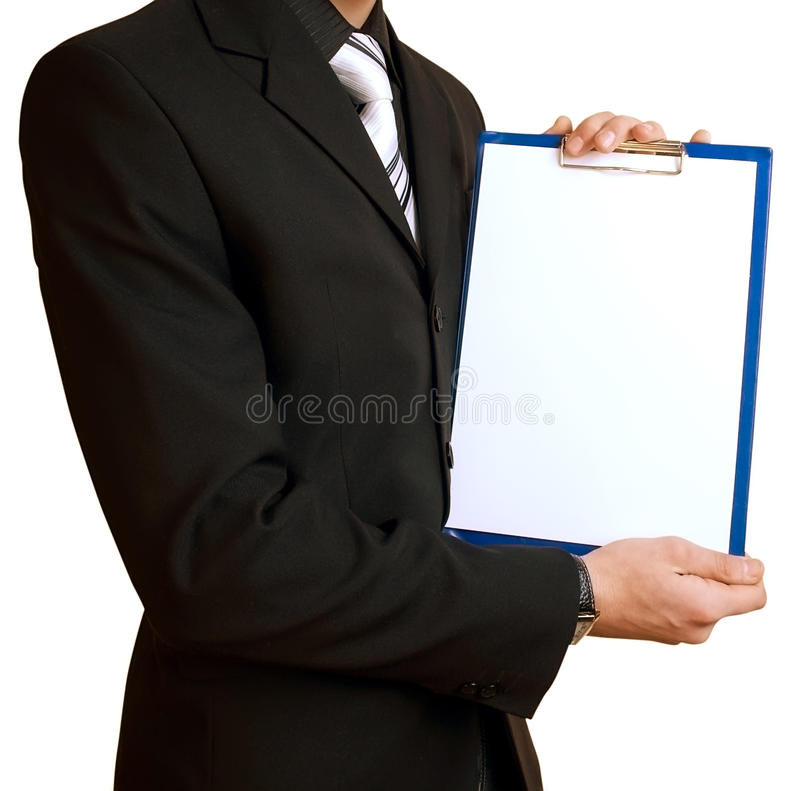 Businessman with sheet of paper royalty free stock photography