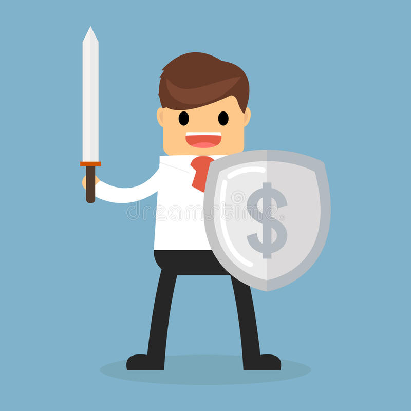 Businessman with shield. Happy businessman with shield concept vector illustration