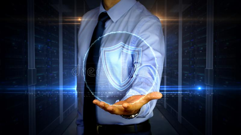 Businessman with shield hologram. Man with dynamic cyber security with shield symbol hologram on hand. Businessman showing futuristic concept of digital royalty free stock images