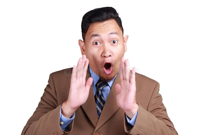 Businessman Shocked with Mouth Open royalty free stock photo
