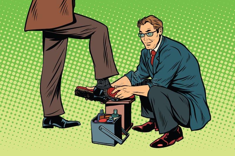 Businessman Shoe Shiner. Pop art retro vector illustration stock illustration