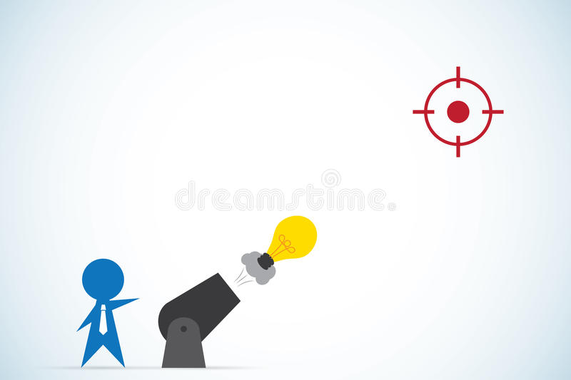 Businessman shoot light bulb from cannon, idea and business concept stock illustration