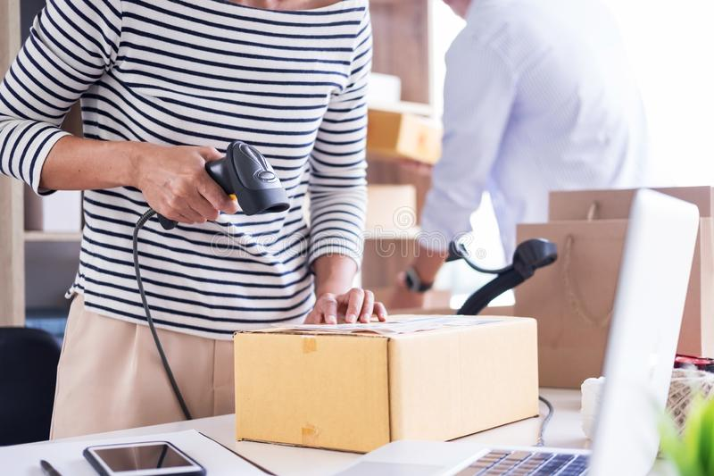 Businessman Shop owner check Order or list inventory in stock which is going to be delivery room. business online, e-commerce. Businessman entrepreneur Shop stock photos