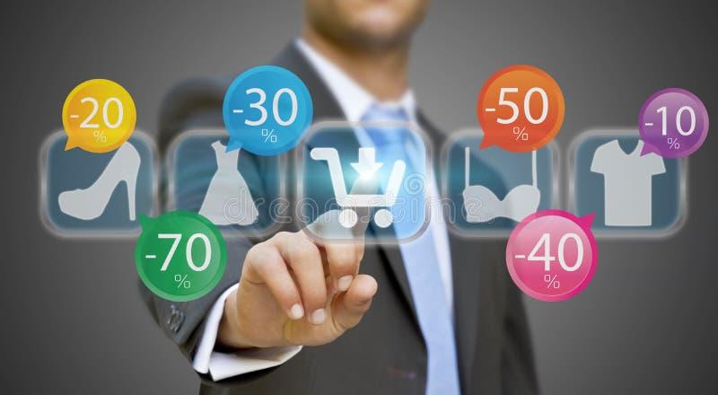 Businessman shopping online vector illustration