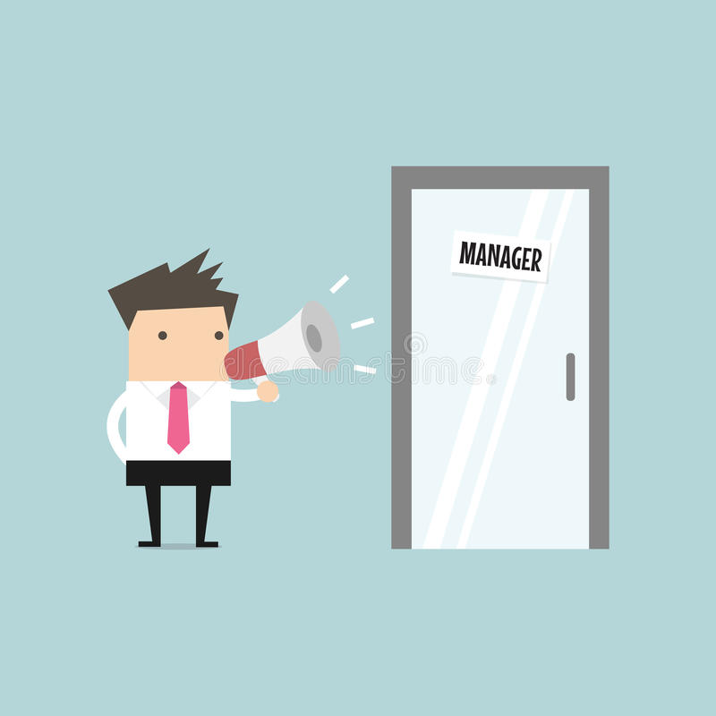Businessman shouting through megaphone outside manager room. stock illustration