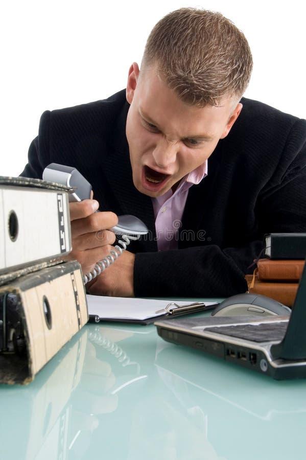Download Businessman Shouting On Phone Stock Image - Image: 7420059