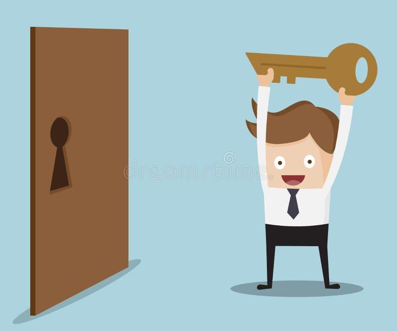 Businessman Show Key For Locked Door Stock Vector ...