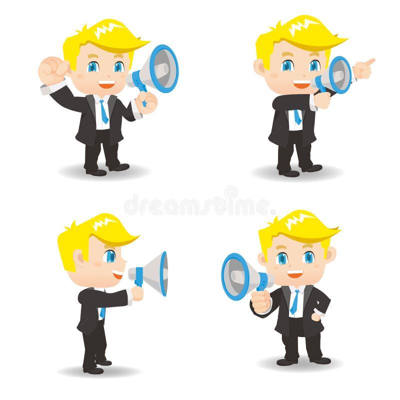 Businessman show trumpet. Cartoon set of Businessman show trumpet and , caucasian royalty free illustration