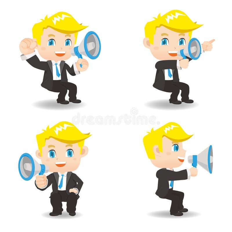 Businessman show trumpet. Cartoon set of Businessman sit and show trumpet and , caucasian stock illustration