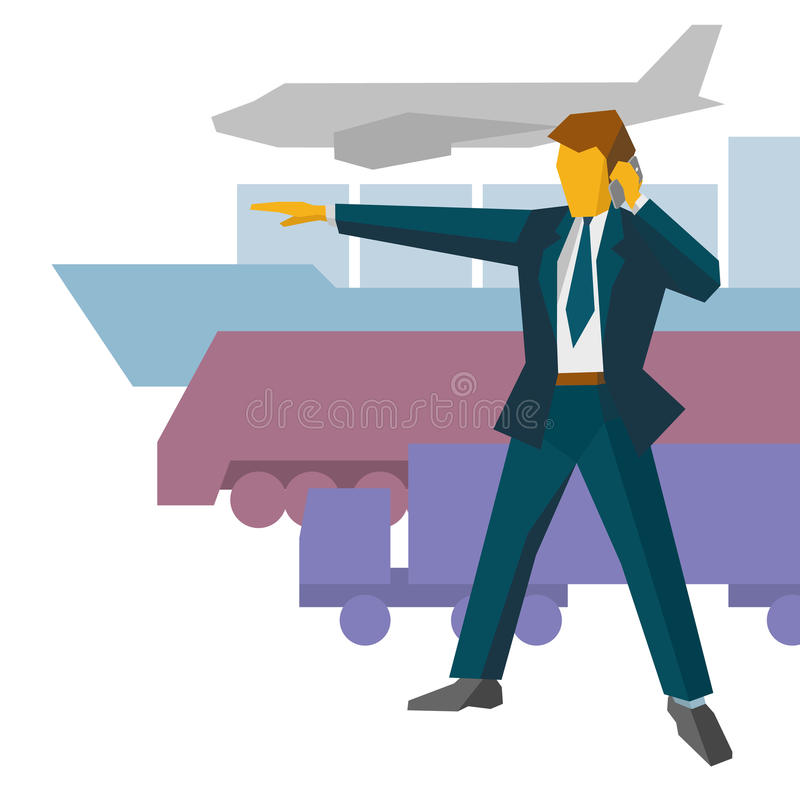 Businessman show the way to different delivery vehicles vector illustration