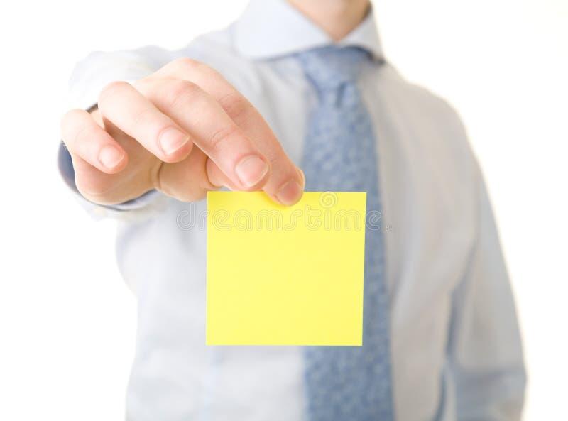 Download Businessman Show Yellow Reminder Stock Image - Image: 8024143
