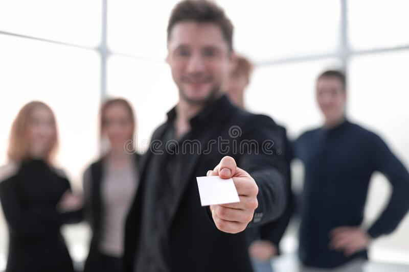 Businessman showing blank business card royalty free stock photography