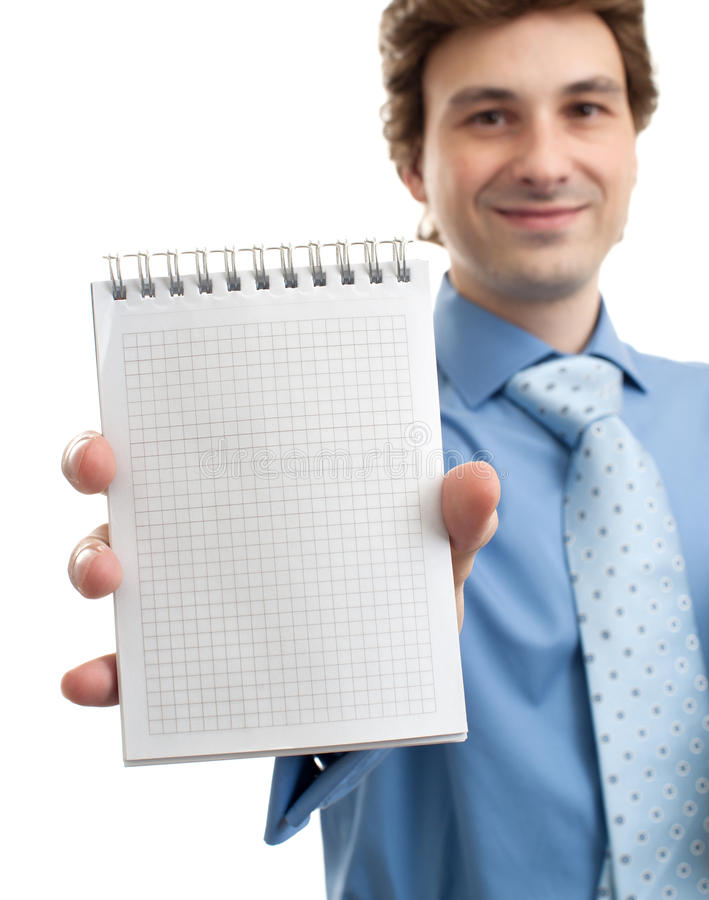 Businessman showing blank notepad stock photo