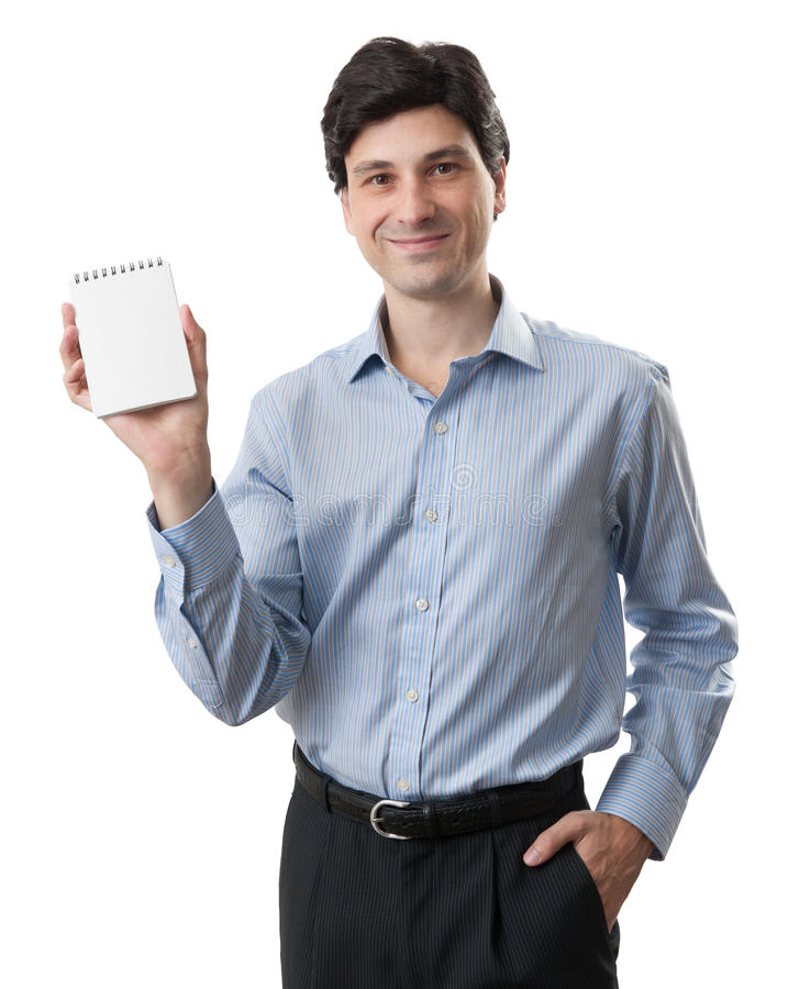 Businessman showing blank notepad stock images