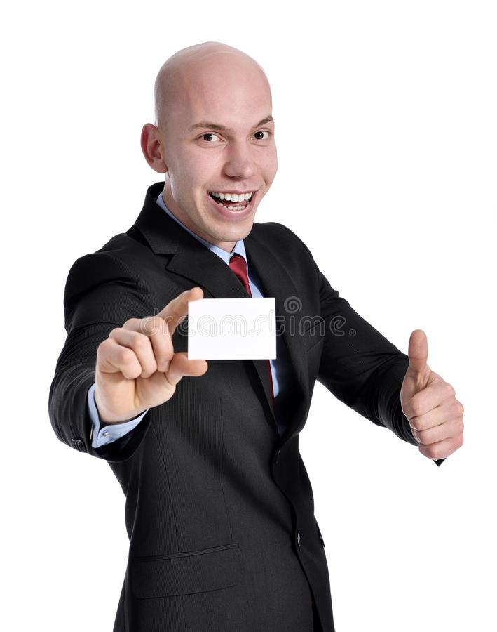 Businessman showing blank sign. Businessman holding white blank empty billboard sign with copy space for text. Beautiful young mixed race Asian Caucasian man stock photos