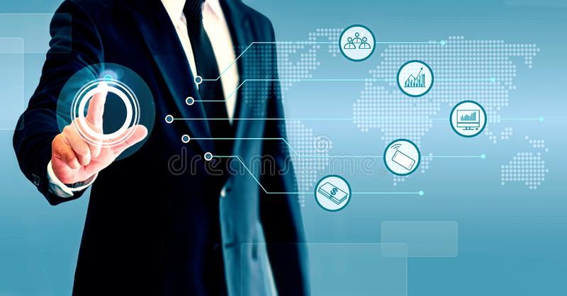 Businessman showing business growth and trade with icons. The concept of growing a business is composed of personnel, technology, stock photos