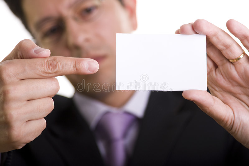 Businessman showing is card stock image