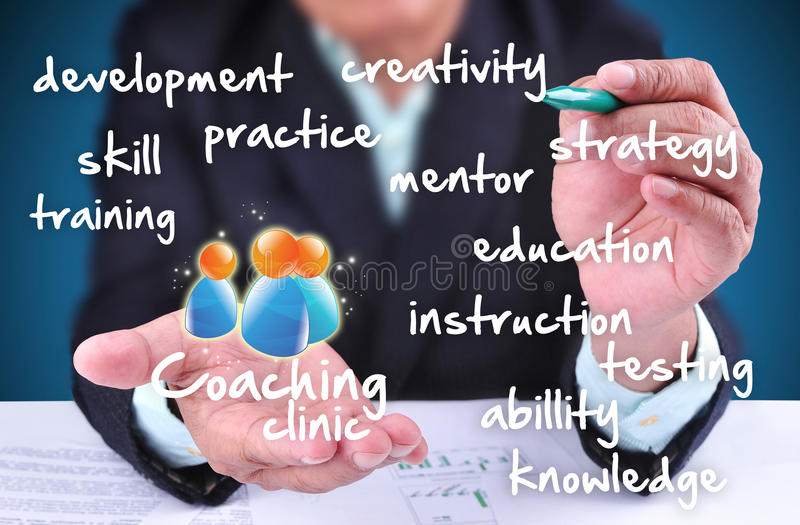 Businessman showing coaching clinic. With 3D icon stock photos