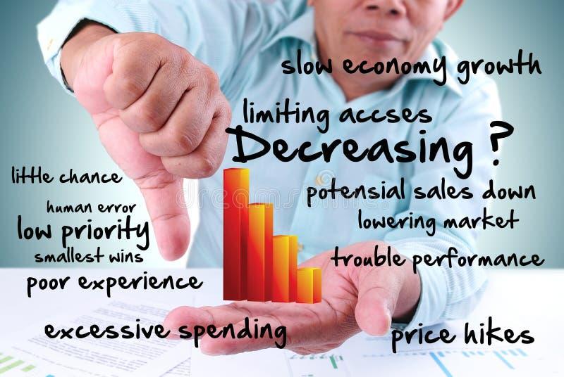 Businessman showing decrease bar chart royalty free stock photos