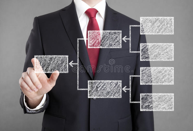 Businessman showing diagram. Drawn with chalk royalty free stock photos
