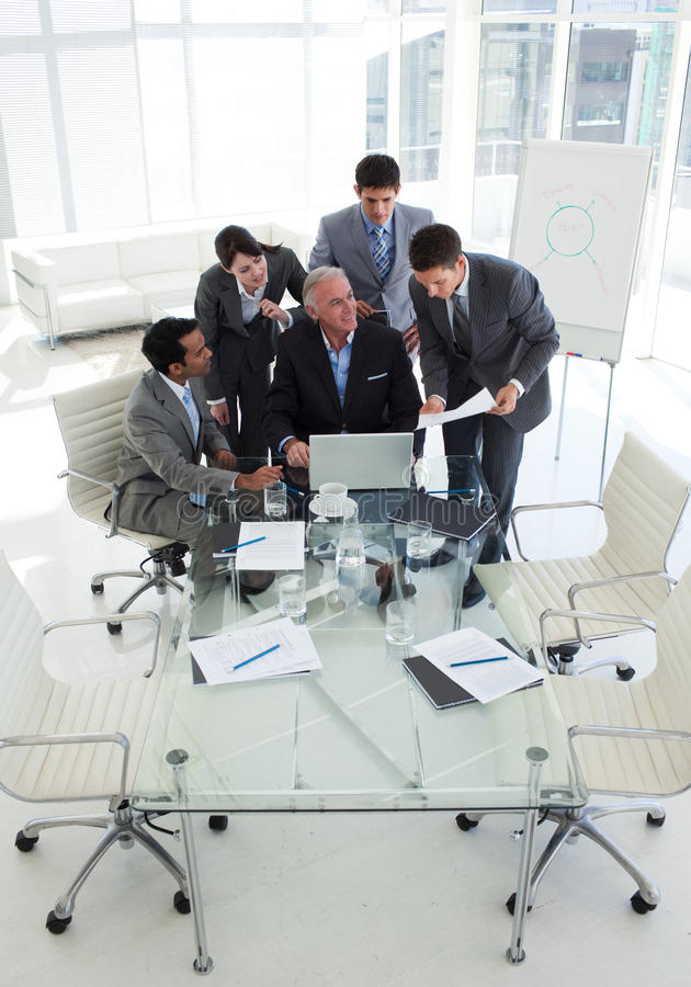 Download Businessman Showing Document To His Senior Manager Stock Image - Image of male, busy: 12118737