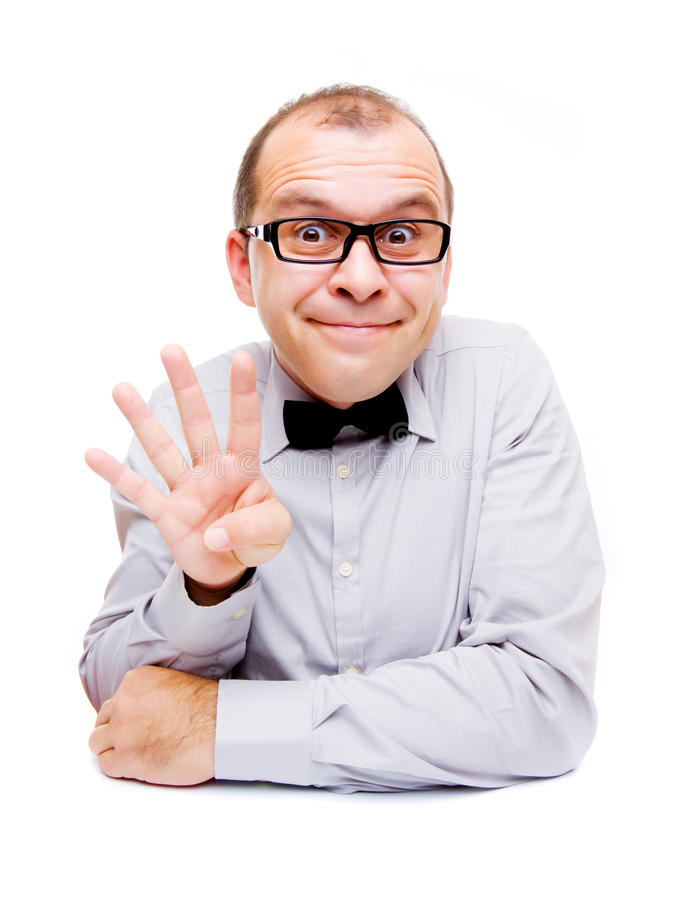 Businessman Showing Four Fingers Stock Images