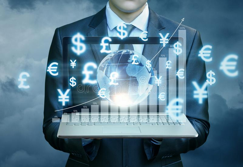Businessman showing a graph of financial growth . Businessman showing a graph of financial growth on the world market of Finance stock photography