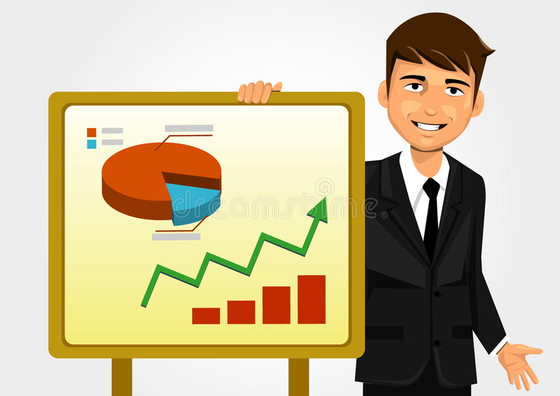 Businessman showing graph royalty free illustration