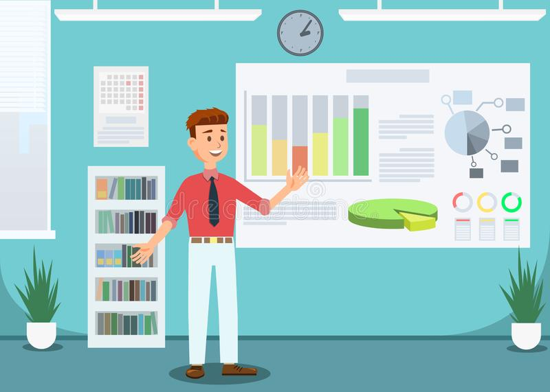Businessman Showing Growing Graphs in Office. royalty free illustration