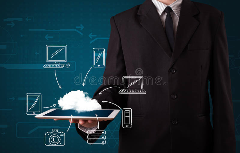 Businessman showing hand drawn cloud computing royalty free stock photos