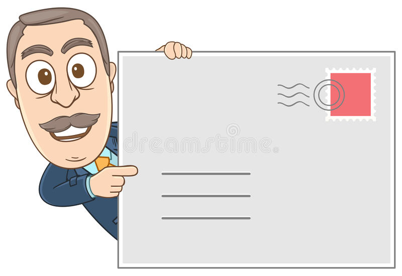 Businessman - Showing his address. Vector illustration of a businessman showing his address by holding a big mail royalty free illustration