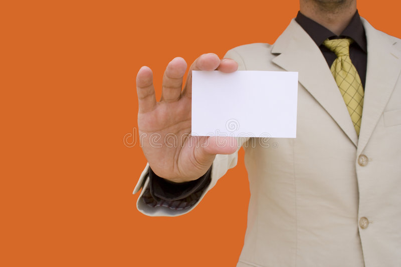 Businessman showing his card royalty free stock image