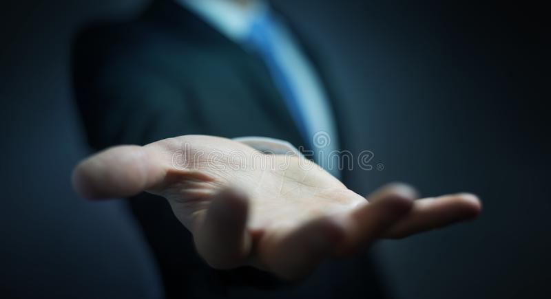 Businessman showing his empty hand royalty free illustration