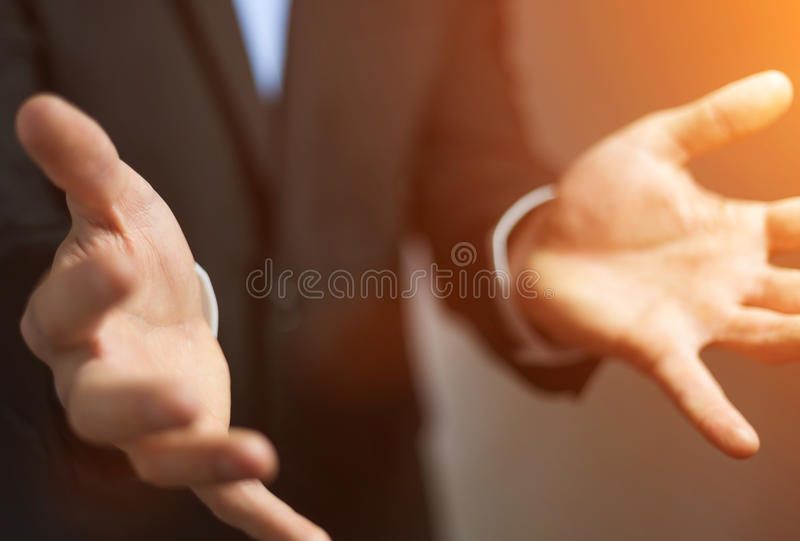 Businessman showing his empty hand stock illustration
