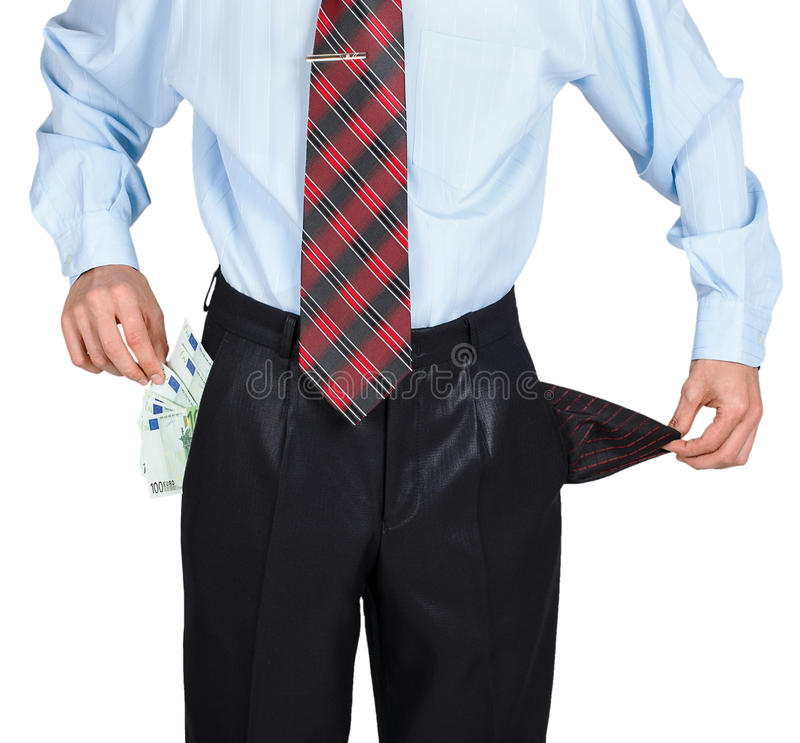 Businessman showing his empty one pocket stock photos
