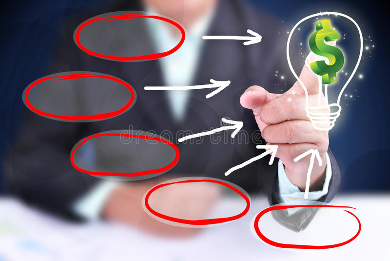 Businessman showing how to take profit stock photos