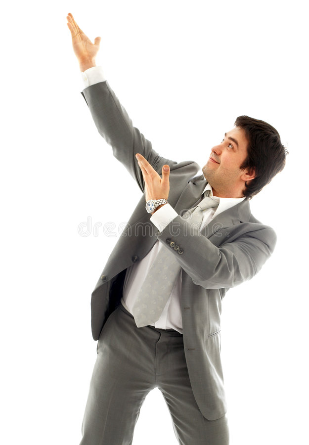 Download Businessman Showing Imaginary Product Stock Image - Image: 1701101