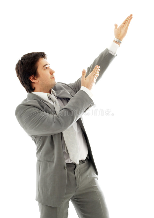 Download Businessman Showing Imaginary Product #2 Stock Photo - Image: 1704164
