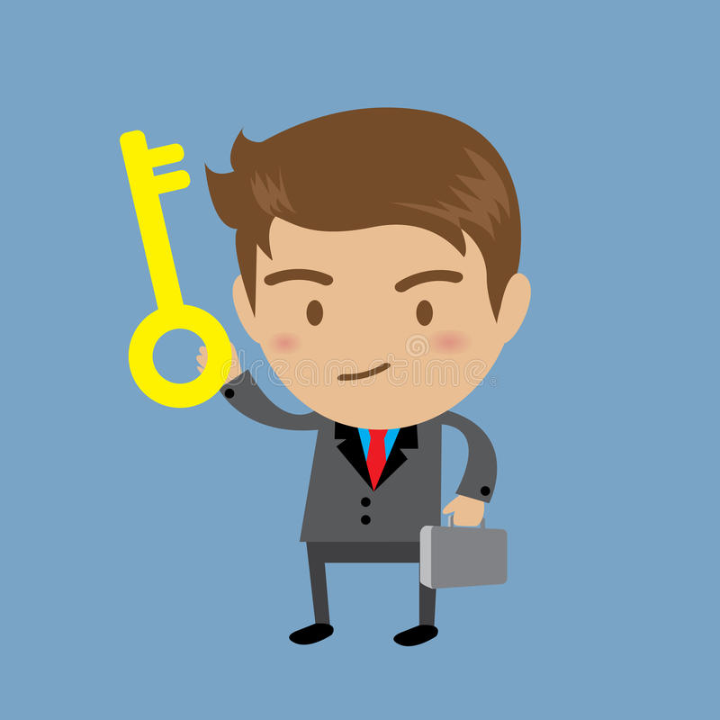 Businessman showing the key to success, Business concept. Businessman showing the key to success stock illustration