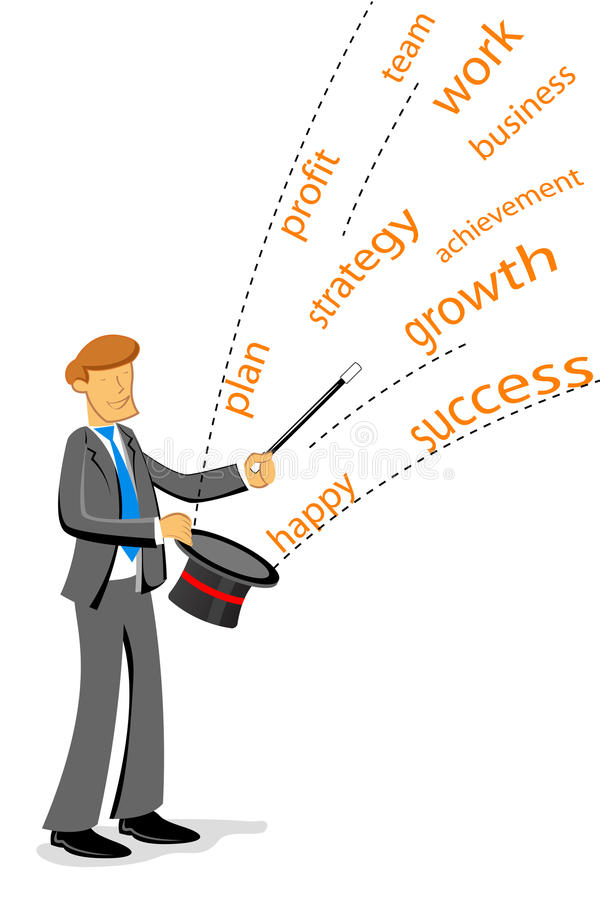 Businessman showing magic
