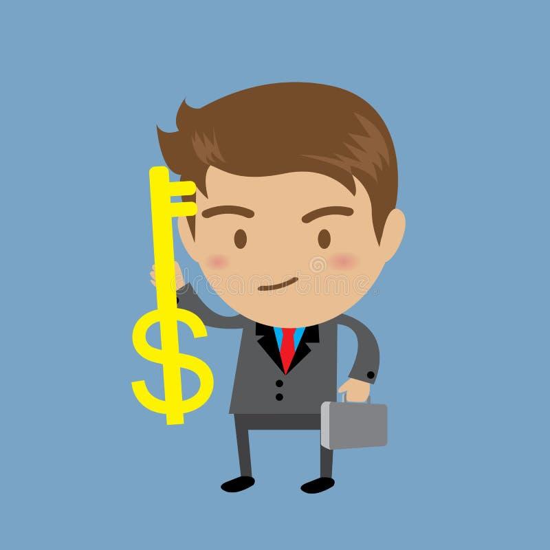 Businessman showing the money key, Business concept stock illustration