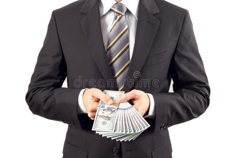 Businessman showing new hundred dollar bills stock image